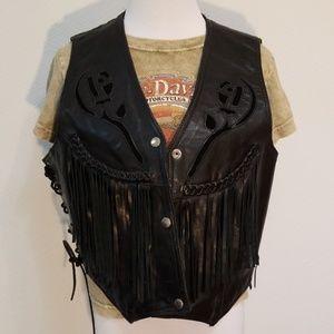 80s 90s Fringe Black Leather Biker Vest w Roses